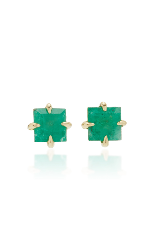 Ila Primary Princess 14k Gold Emerald Stud Earrings In Green