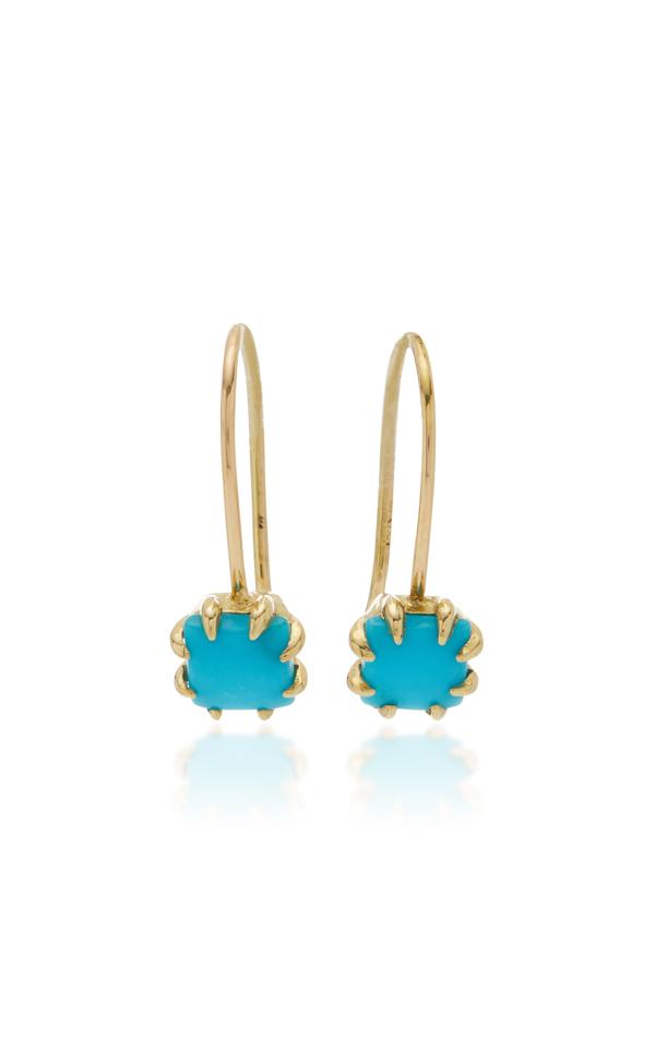 Ila Zephyr 14k Gold Turquoise Earrings In Blue