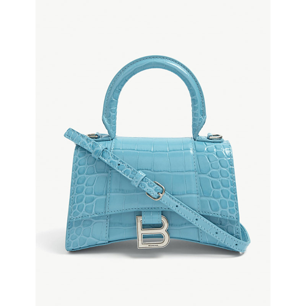 Balenciaga Hourglass Mini Leather Top Handle Bag In Blue+turquoise