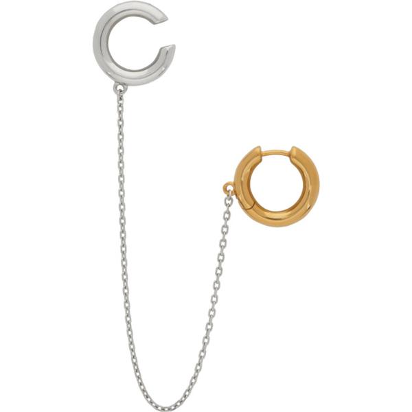 Alan Crocetti Ssense Exclusive Silver & Gold Mini Loophole Ear Cuffs In Rhodium