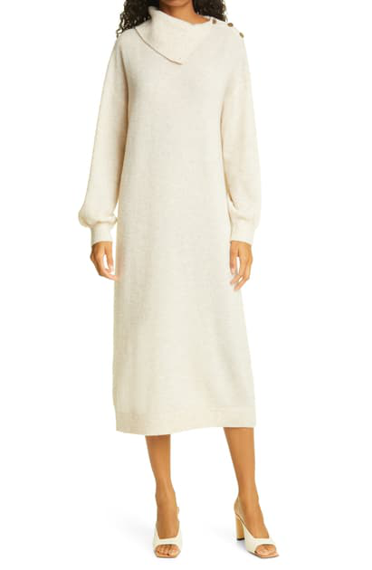 Bytimo Teddy Long Sleeve Stretch Wool Sweater Dress In 982 - Creme