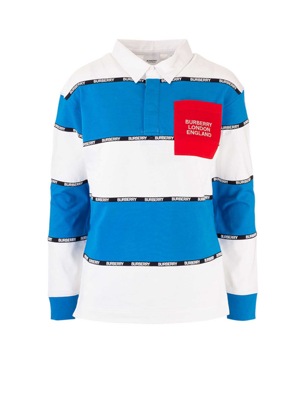 Burberry Kids' Logo Striped Polo Shirt In White And Blue
