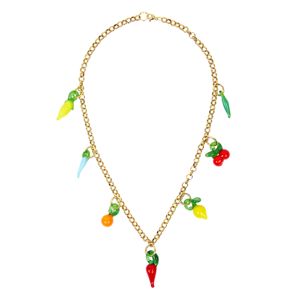 Sandralexandra Groceries Gold-tone Necklace In Multicoloured