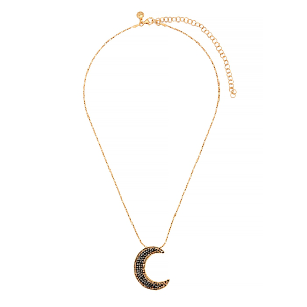 Soru Jewellery Notte 18kt Gold-plated Moon Necklace In Black