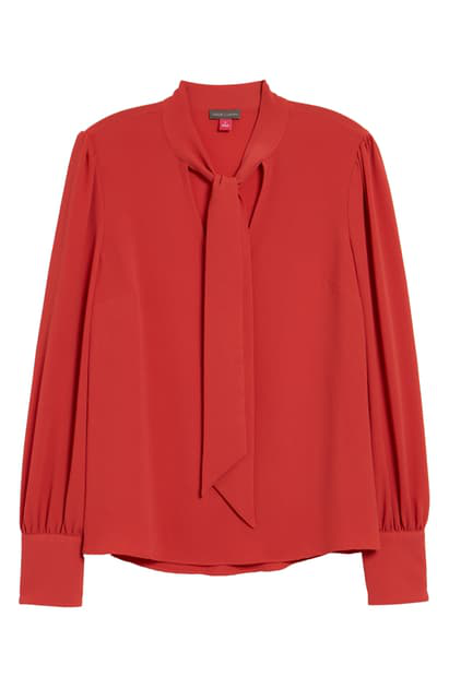 Vince Camuto Women's Long Sleeve Tie Neck Blouse In Spiced Red