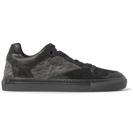 Balenciaga Textured-leather, Suede And Woven Sneakers In Midnight Blue