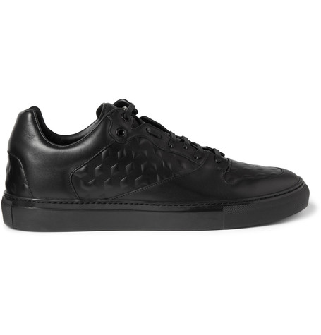 Balenciaga Debossed Leather Sneakers In Black
