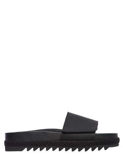 Dsquared2 Rubberized Leather Slide Sandals, Black