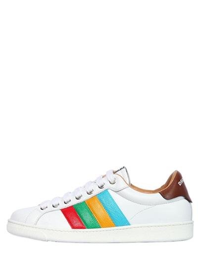 Dsquared2 Stripe Leather Sneakers, White/multi