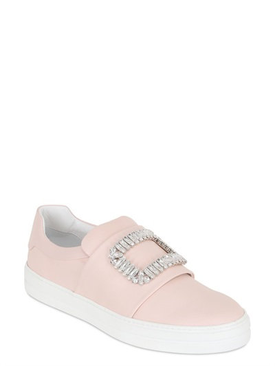 Roger Vivier Sneaky Viv Embellished Leather Sneakers In Pink
