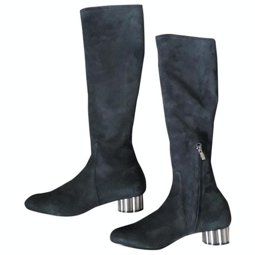 Pre-owned Salvatore Ferragamo Black Suede Boots
