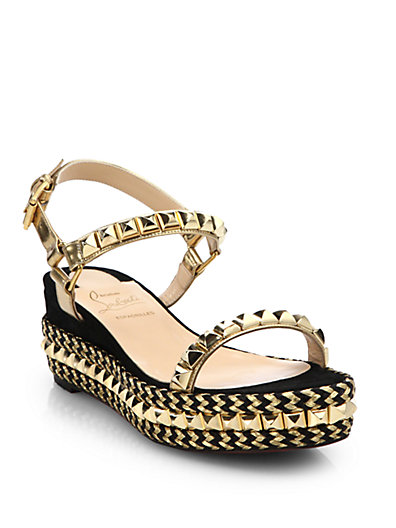 0cbb4661eab9 Christian Louboutin Cataclou 60 Embellished Suede And Leather Wedge Sandals  In Gold-Black