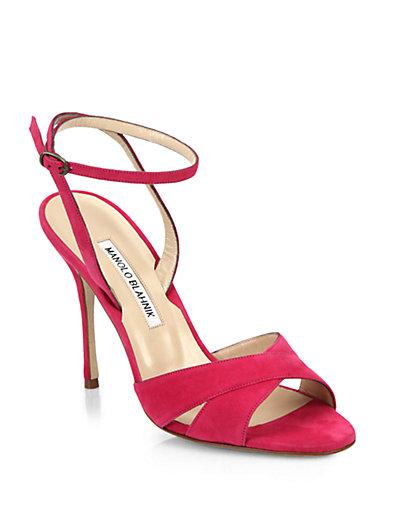 Manolo Blahnik Orlana Suede High-heel Ankle-wrap Sandal In Fuschia