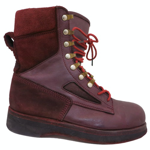 Pre-owned Sacai Burgundy Leather Boots