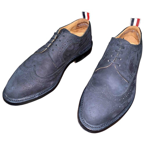 Pre-owned Thom Browne Black Suede Lace Ups