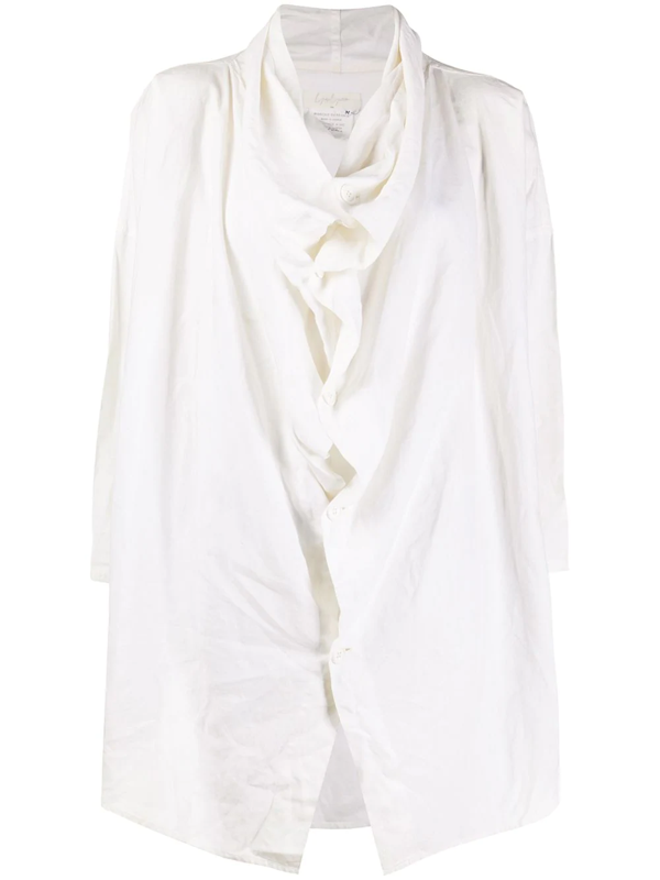 Pre-owned Yohji Yamamoto Draped Front Loose-fit Shirt In White