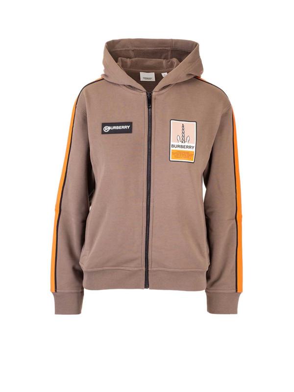 Burberry Kids' Hooded Sweatshirt In Smoke Color In Brown