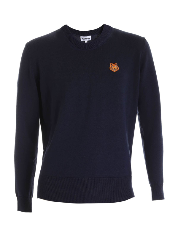 Kenzo Wool Crewneck Jumper With Logo In Blue