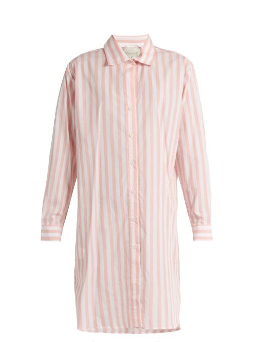 Johanna Ortiz Malpelo Striped Cotton-blend Shirtdress In Pink White