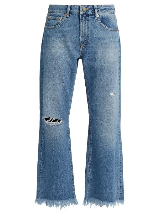 Raey Max Asymmetric-hem Wide-leg Jeans In Light Denim