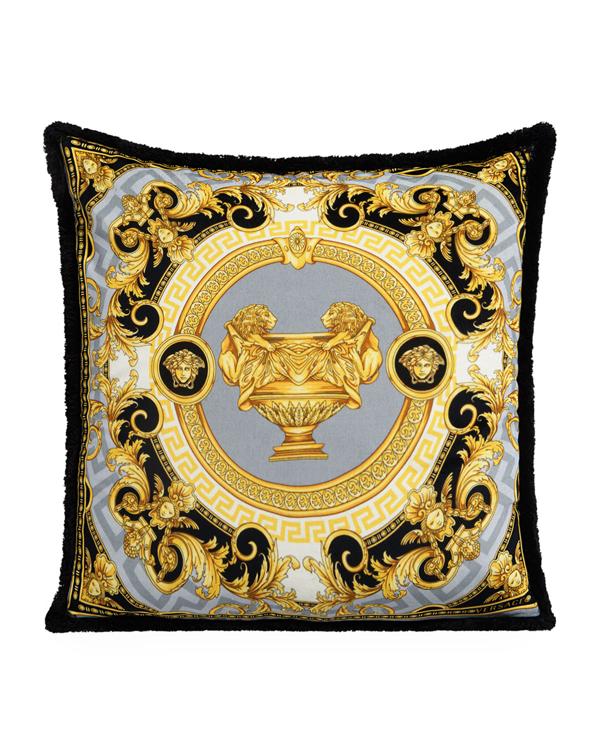 Versace Le Vase Baroque Silk Decorative Pillow, 18 X 18 In Black/gray