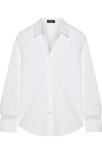 Theory Tenia Stretch Cotton-blend PiquÉ Shirt In White