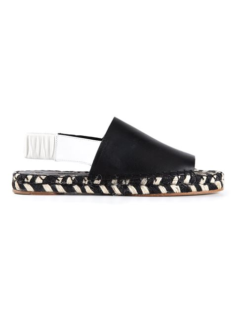 Proenza Schouler Two-Tone Leather Braided Espadrille Slingback In Black