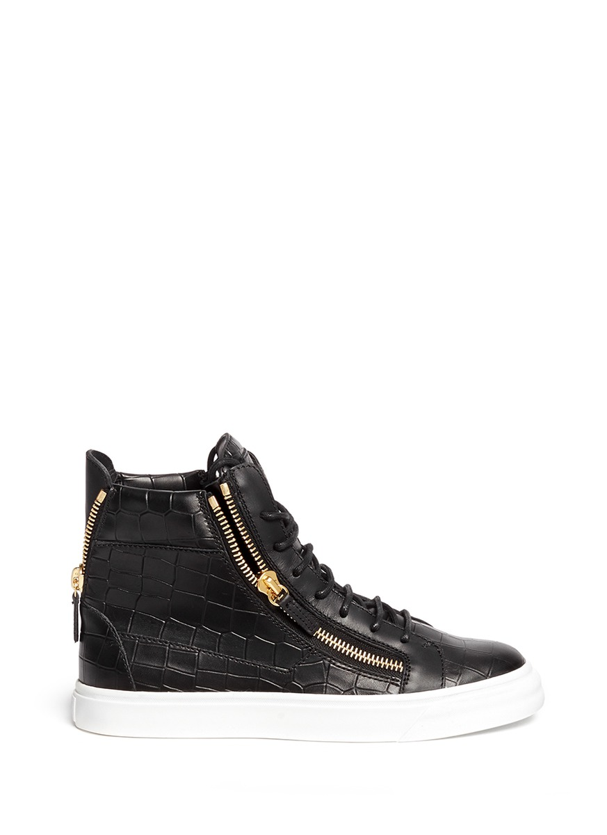 Giuseppe Zanotti 'london' Croc Embossed Leather High Top Sneakers In Black