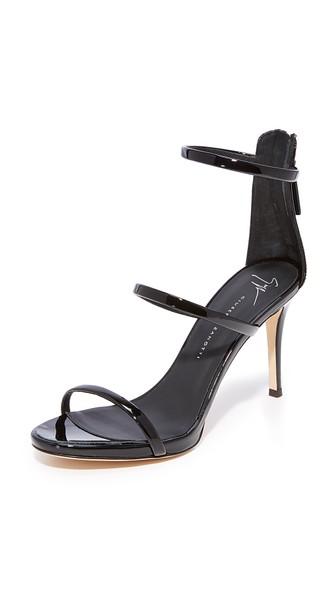 Giuseppe Zanotti Black Coline Three-Strap Sandals In Nero
