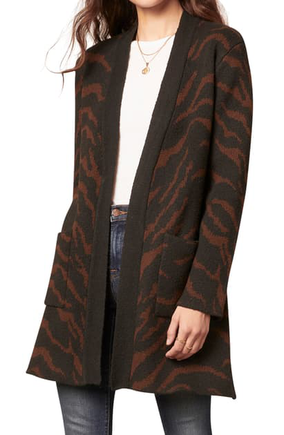 Cupcakes And Cashmere Josephine Animal Print Open Cardigan In Black