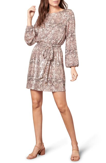 Cupcakes And Cashmere Ginger Sequin Long Sleeve Minidress In Ballet Pink