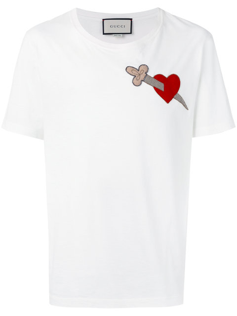 1ec6f9ec2 Gucci White Pierced Heart T-Shirt   ModeSens