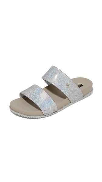 Melissa Cosmic Metallic Glitter Two Band Slide Sandals In Silver Glitter