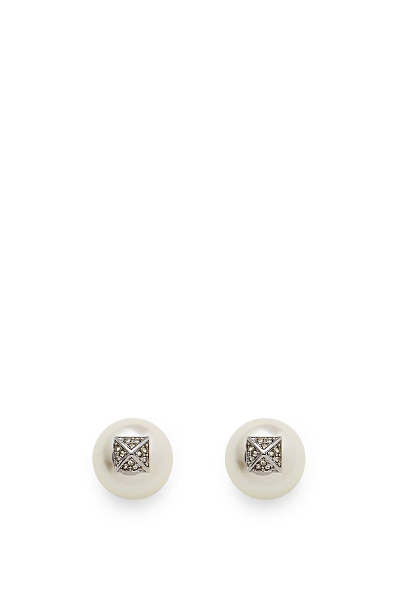 Rebecca Minkoff Two Part Pearl Earring In Antique Silver