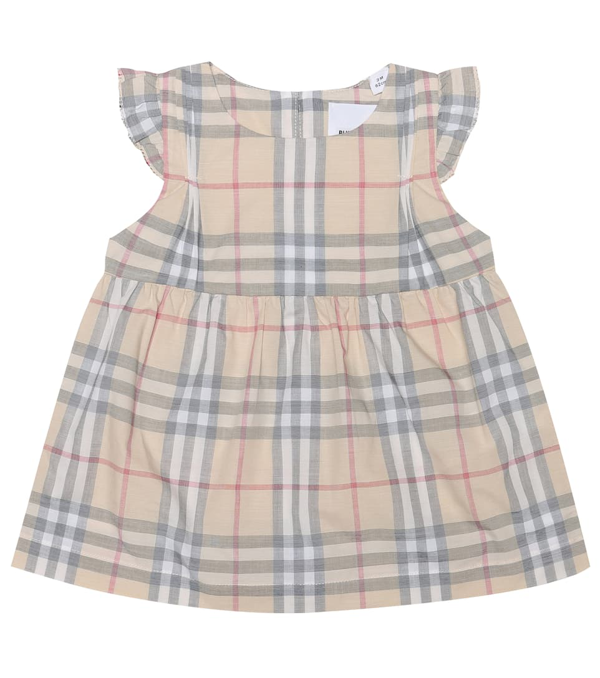 Burberry Baby Cotton Dress And Bloomers Set In Beige