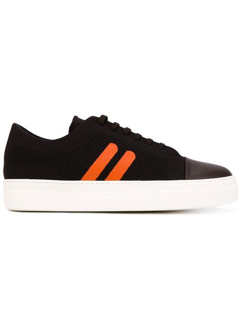 Neil Barrett Chocolate/orange Perforated Fabric And Nappa Leather Skateboard Sneakers In Brown