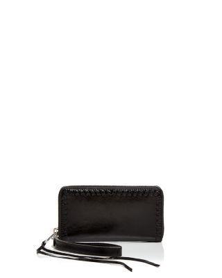Rebecca Minkoff Vanity Leather Phone Wallet In Black/ Silver