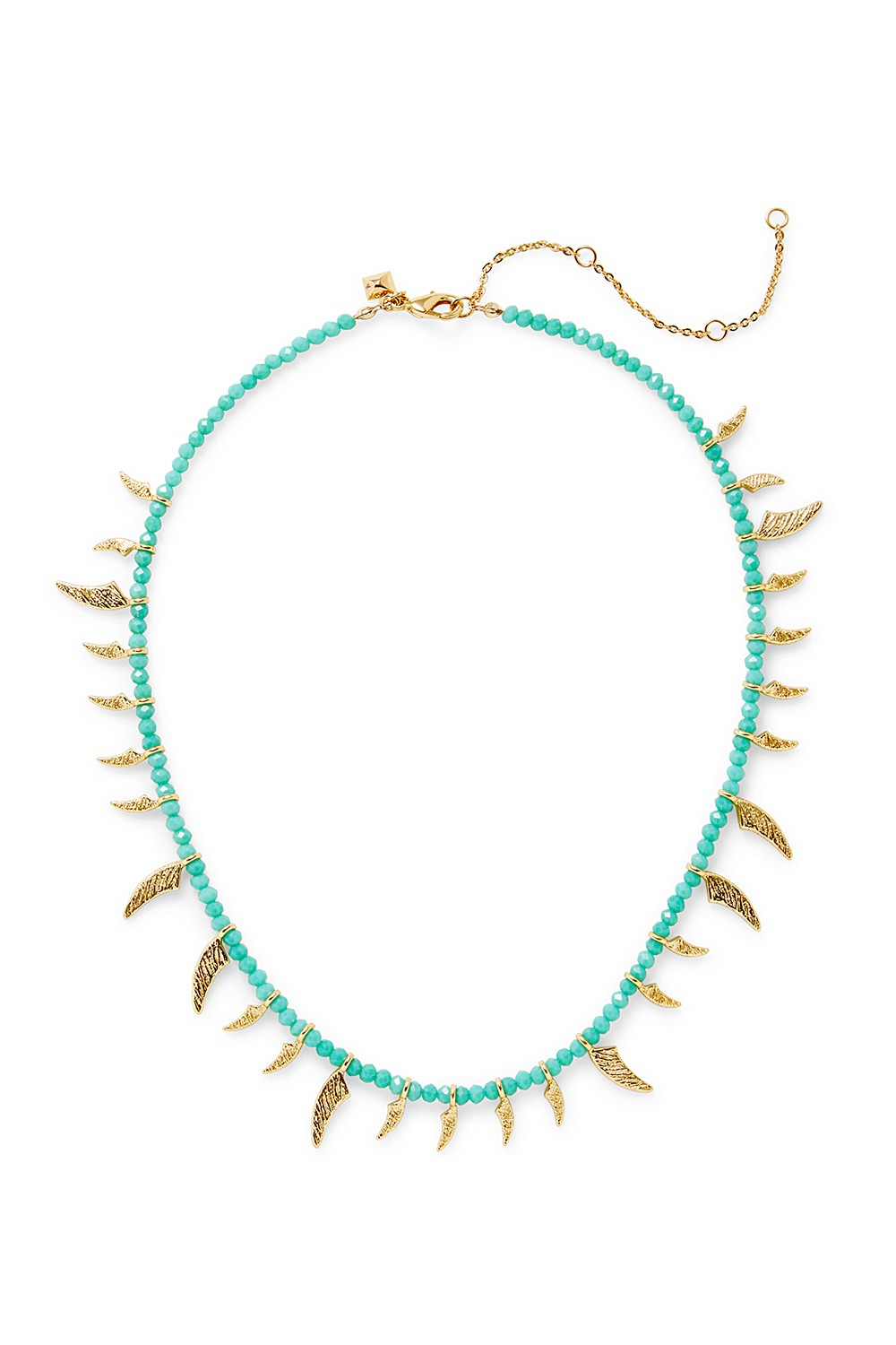 Rebecca Minkoff Tiki Beaded Spike Necklace In Turquoise/gold