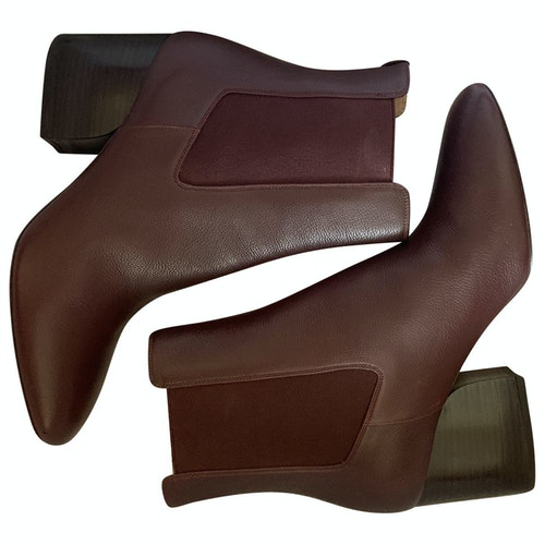 Pre-owned Salvatore Ferragamo Burgundy Leather Ankle Boots