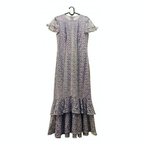 Pre-owned Monique Lhuillier Grey Lace Dress