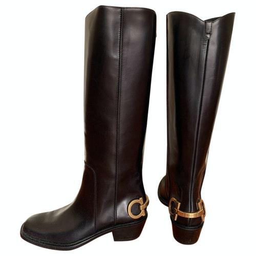 Pre-owned Salvatore Ferragamo Black Leather Boots