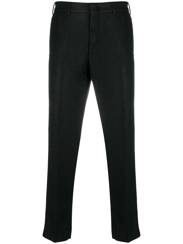 Pt01 Tapered-fit Cropped Trousers In Black