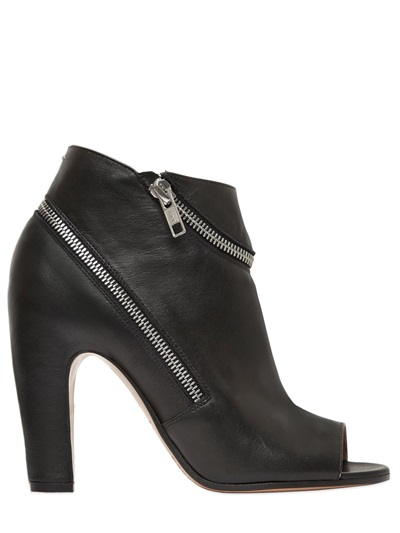 Maison Margiela 100Mm Wrap Zip Leather Ankle Boots In Black