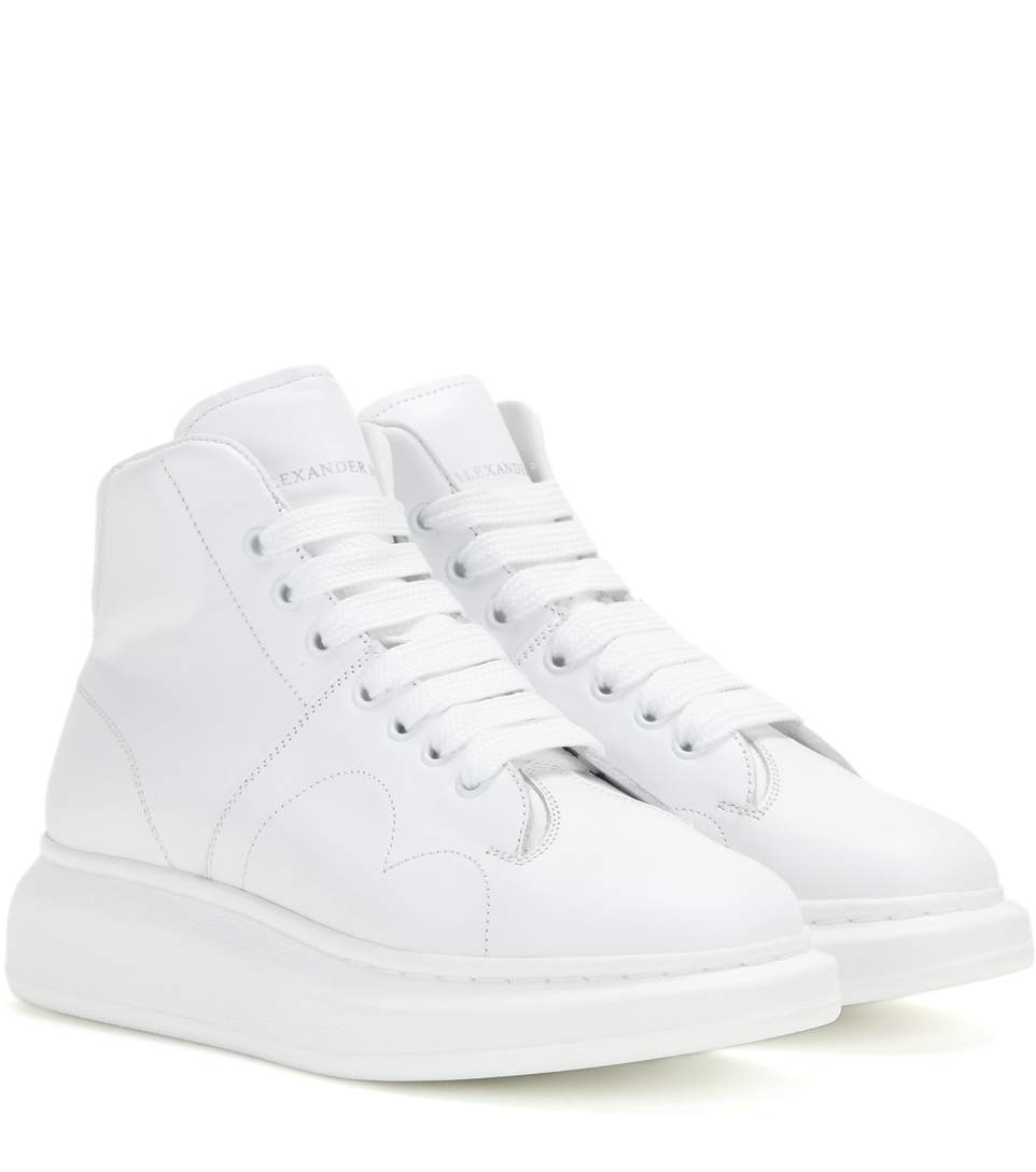 Alexander Mcqueen Larry Leather High-top Sneakers In White