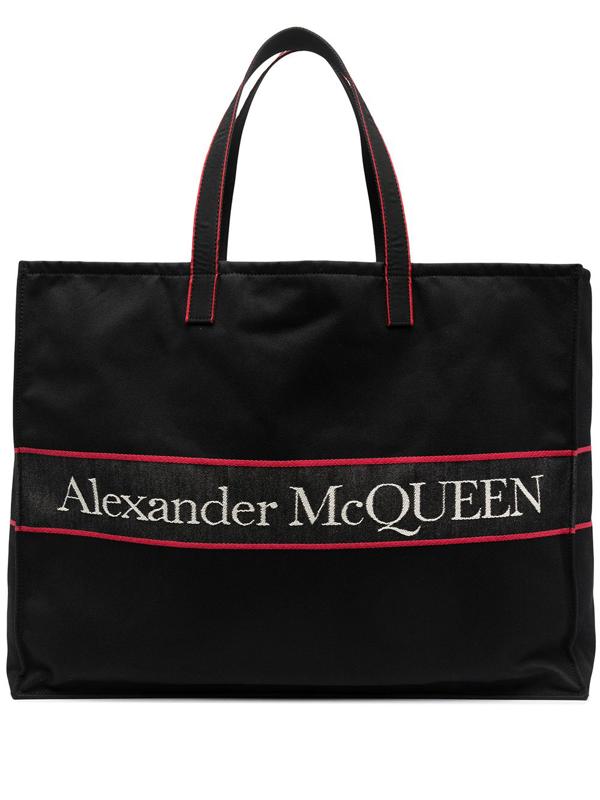 Alexander Mcqueen East West Logo Tote Bag In Black