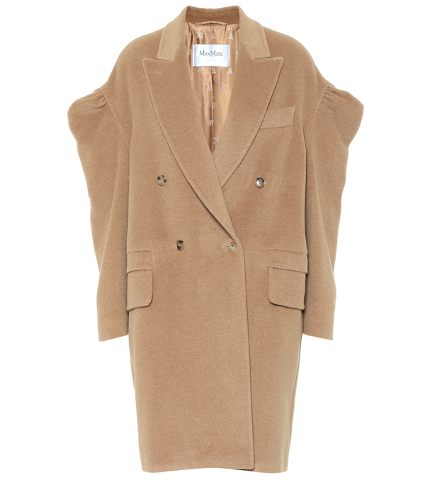 Max Mara Dropped Puff Sleeves Double-breasted Coat In Beige