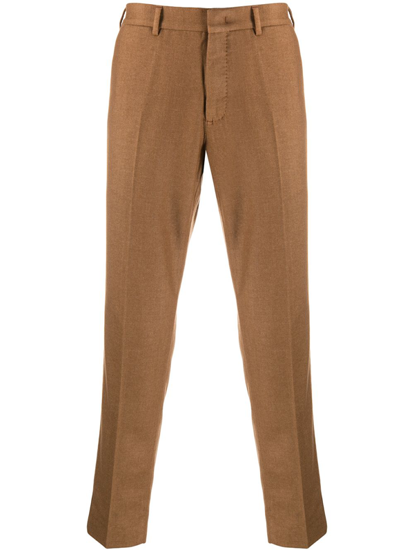 Pt01 Tapered-fit Cropped Trousers In Brown