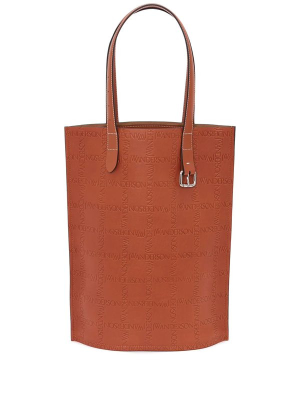 Jw Anderson J.w. Anderson Tote Bag With Embossed Logo In Brown