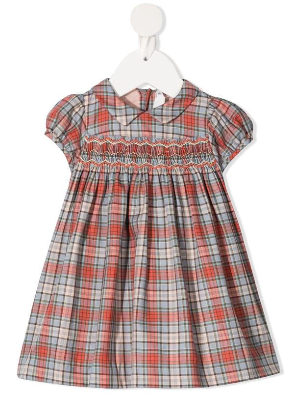 Bonpoint Babies' Smocked Tartan Print Dress In Red