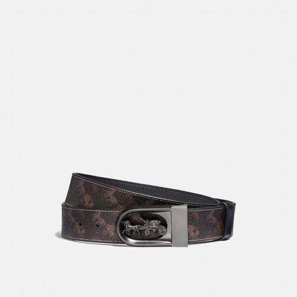 Coach Horse And Carriage Buckle Cut-to-size Reversible Belt With Horse And Carriage Print, 38mm In Brown - In Neutrals